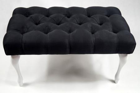 Ławeczka Pufka Pikowana Casablanca 2316 Czarny Nogi Ludwik Biały Półmat 70cm