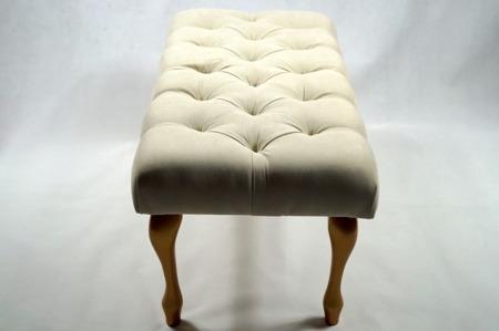 Ławeczka Pufka Pikowana Krem Avila1 Stare Złoto Styl Shabby Chic Vintage Glamour 120cm